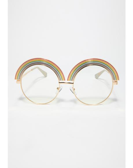 Rainbow Frame Circle Sunglasses