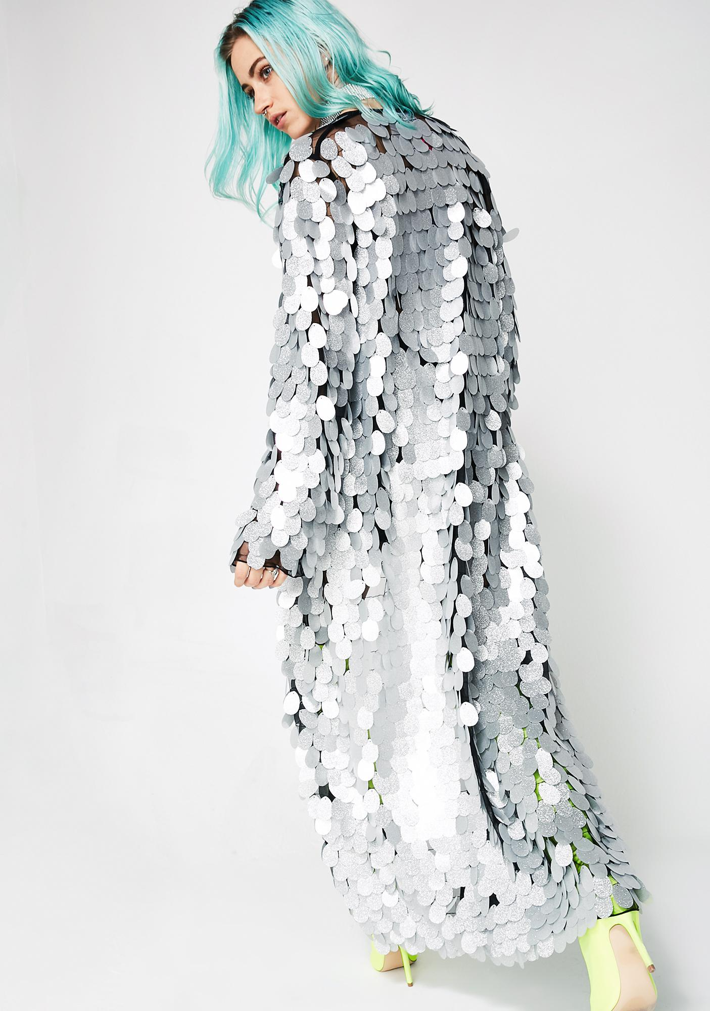 Jaded London Silver Glitter Disc Sequin Kimono