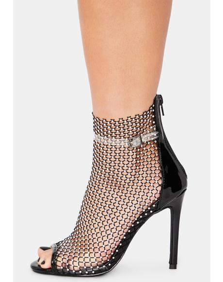Club Goin' Up Rhinestone Fishnet Heels