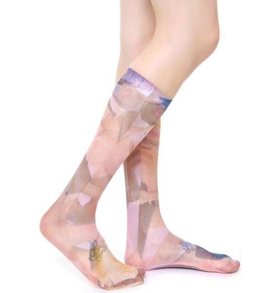 Coveted Society Broken Dolls Sheer Socks