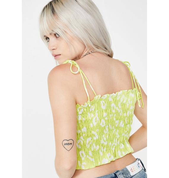 Lime Call Me Catty Crop Top