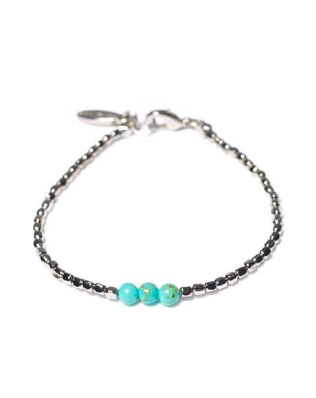 Triple Turquoise Bead Silver Bracelet