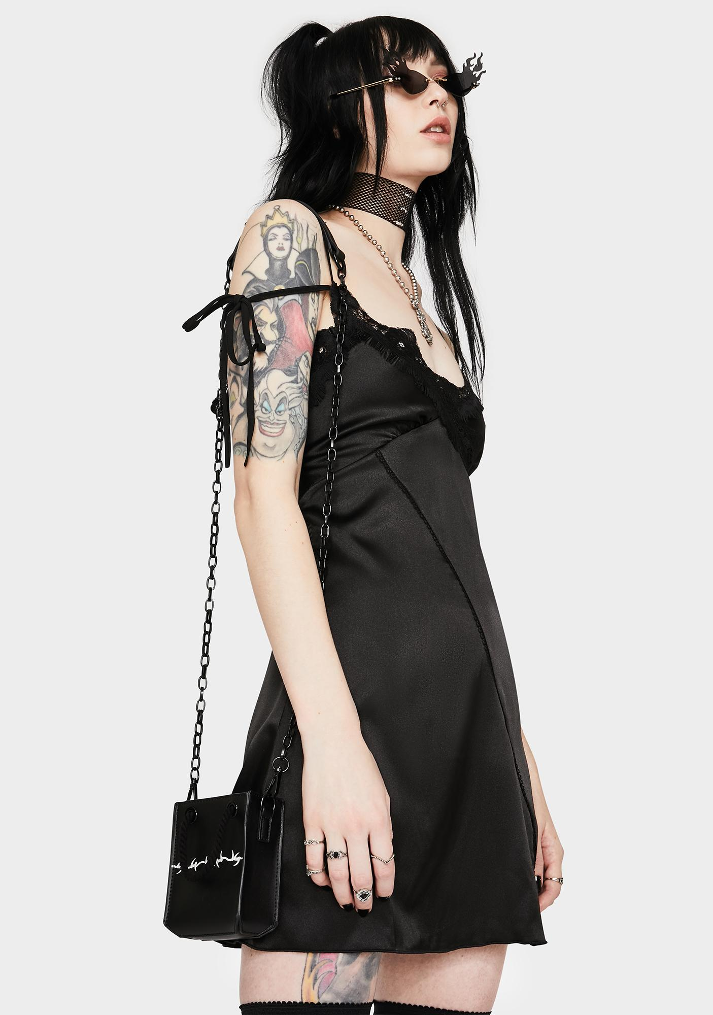 GANGYOUNG Black Tails Silky Dress