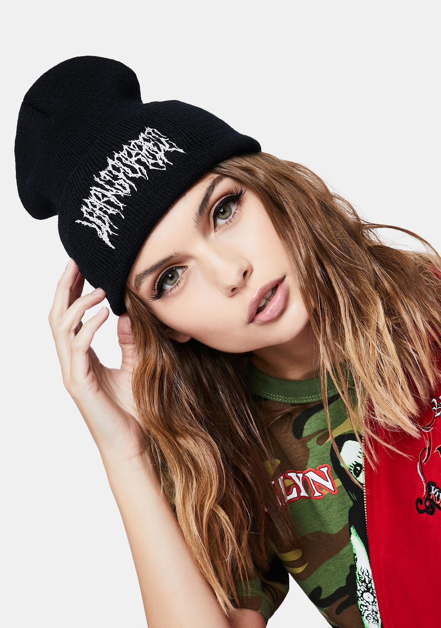 Learn To Forget Black Death Metal Knit Beanie