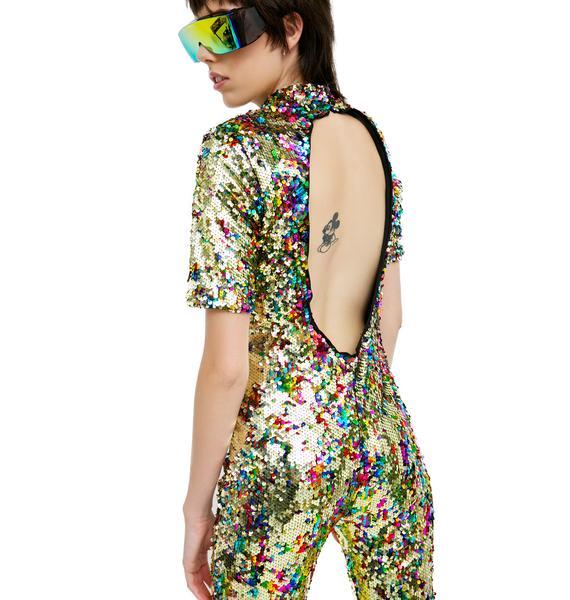 Jaded London Rainbow Sequin Jumpsuit