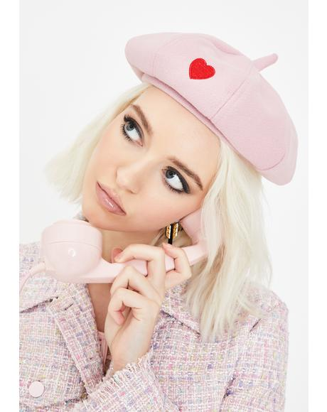 Baby I Love You Embroidered Beret