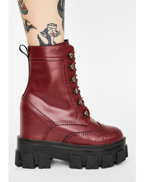 Burgundy Toughest Chick Platform Boots