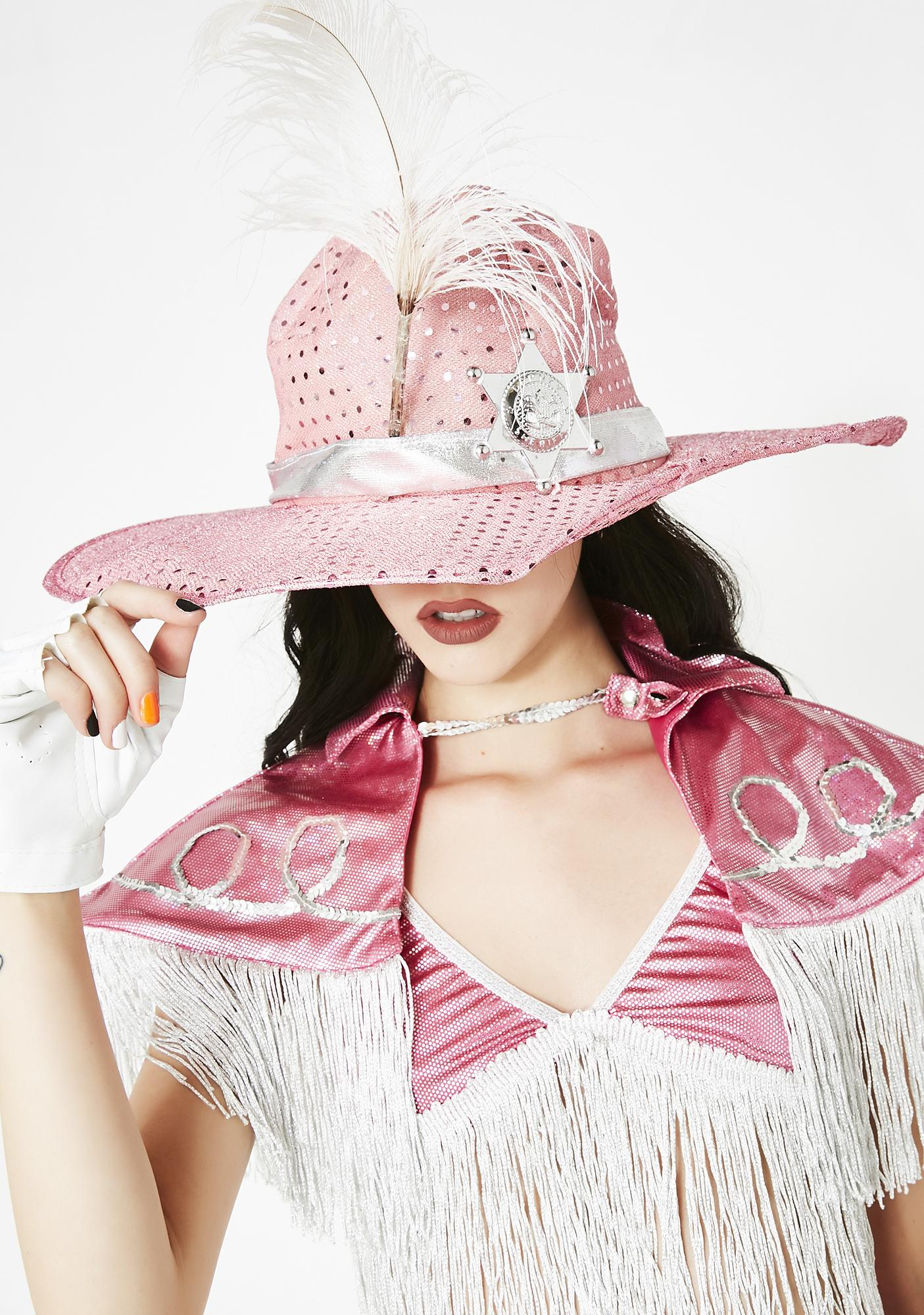 dcb24f9c3c1 Halloween Pink Sequin Cowgirl Hat