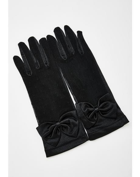 Bow Lace Satin Gloves