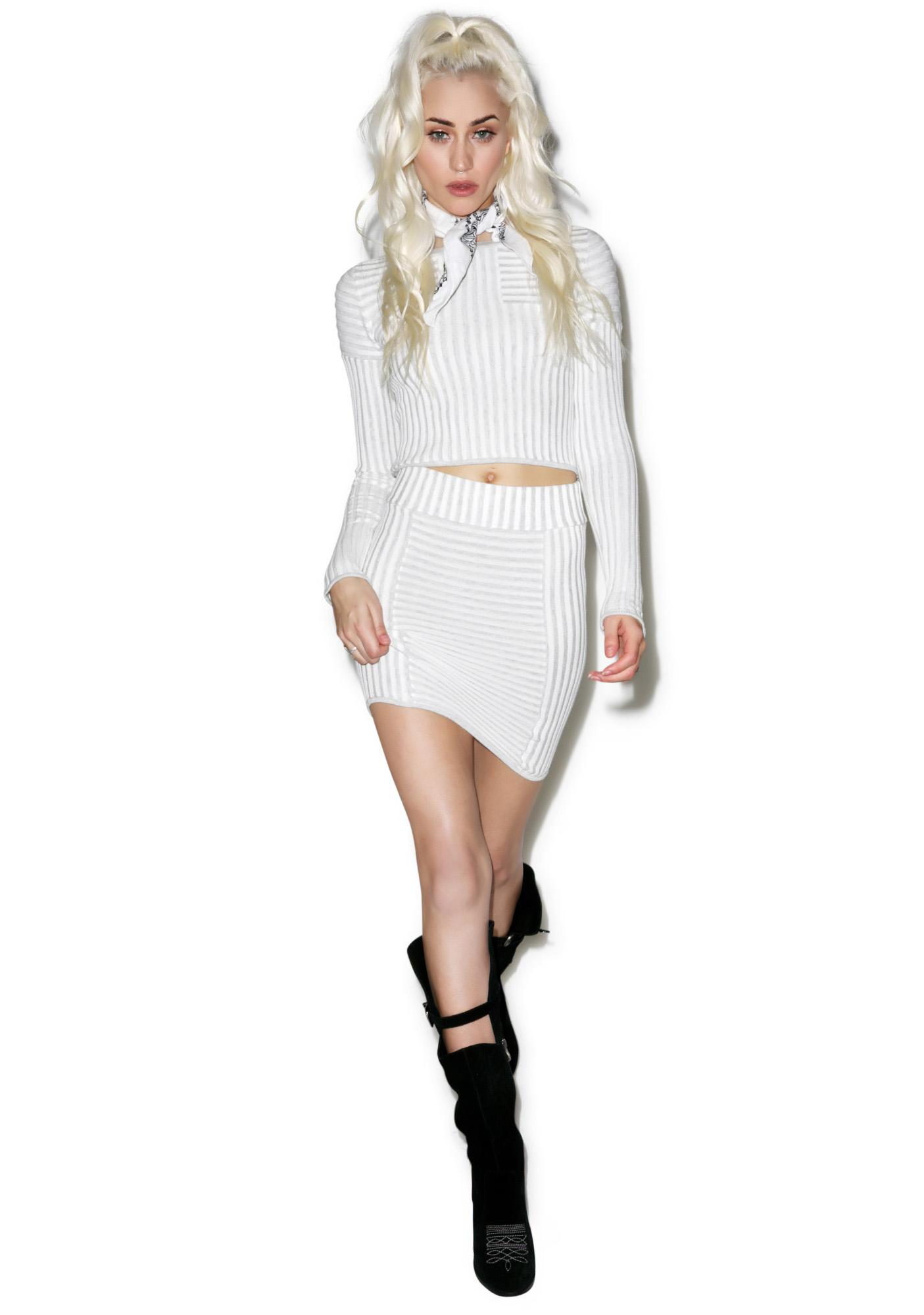 For Love & Lemons Switch Stripe Grey Mini Skirt