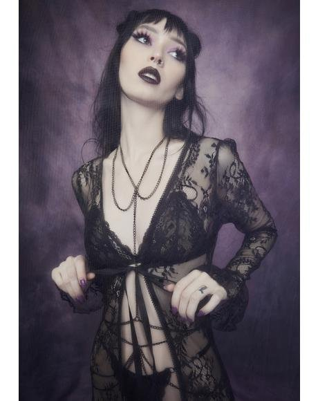 Demonology Lace Bell Sleeve Duster