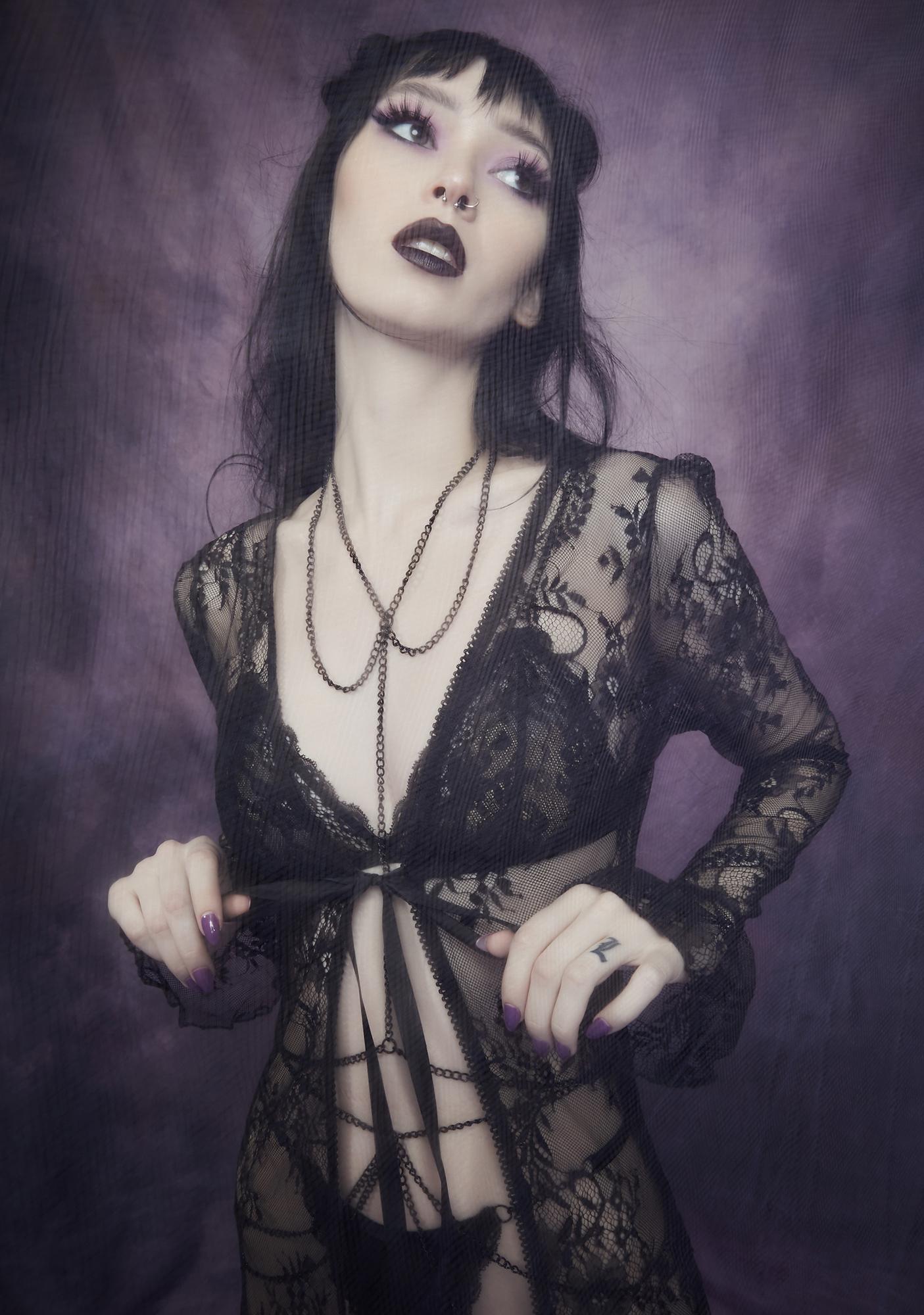 Widow Demonology Lace Bell Sleeve Duster