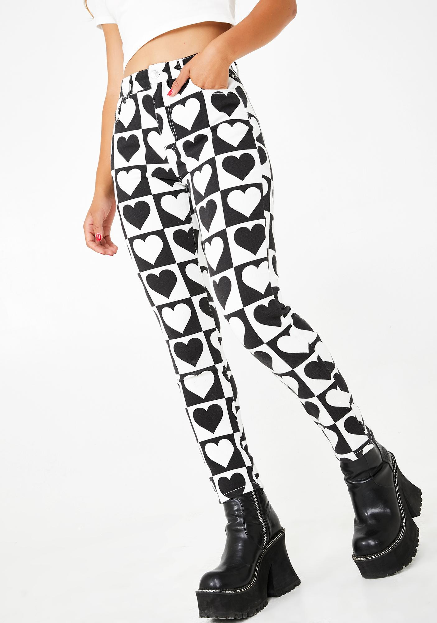 dELiA*s by Dolls Kill Heart Deco Printed Jeans