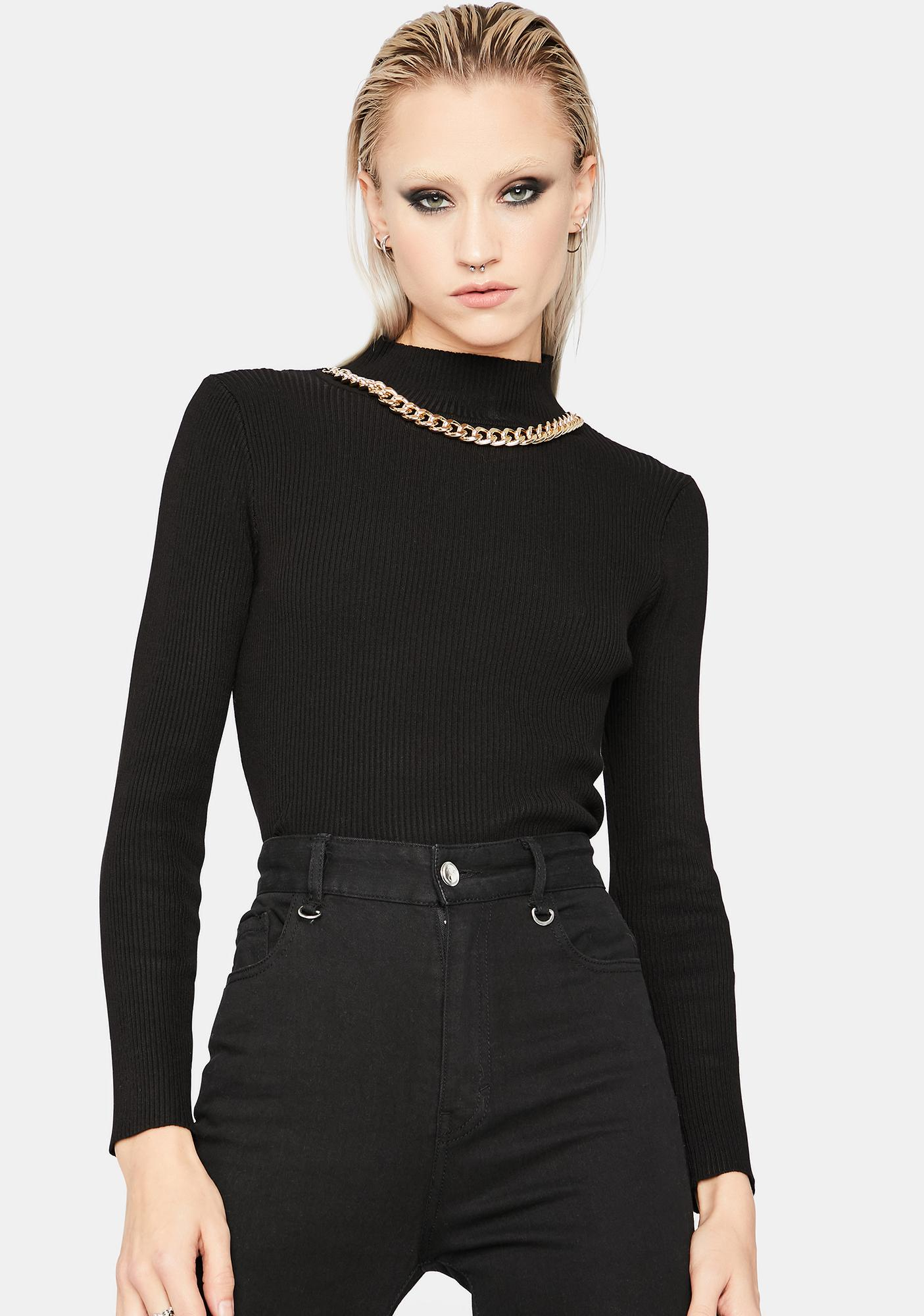 Wicked Bossy Babe Chain Mock Neck Top