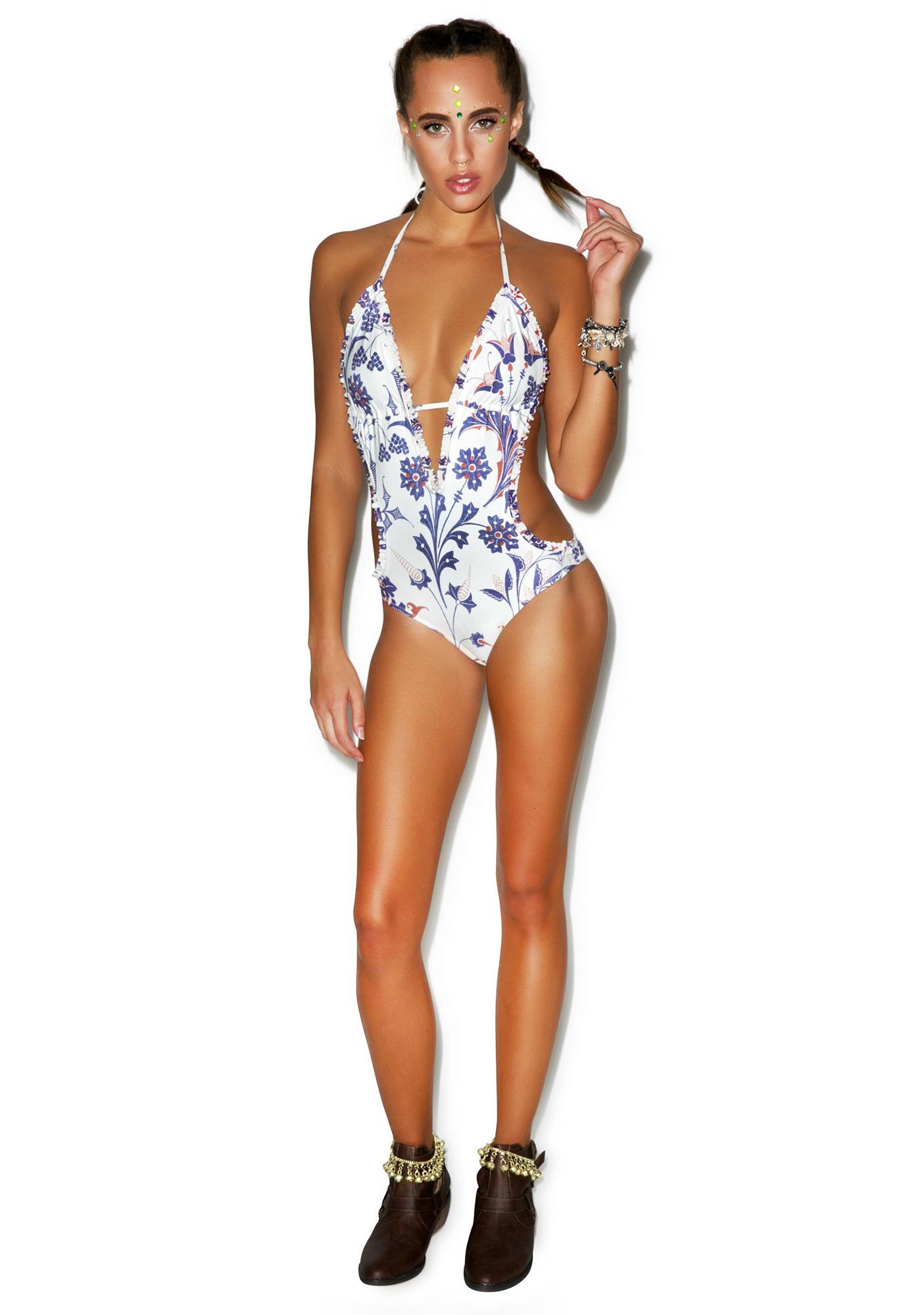 Wildfox Couture American Paisley Ruffled Monokini
