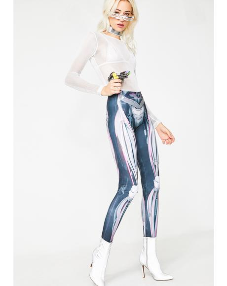 Magenta Mechanical Leggings