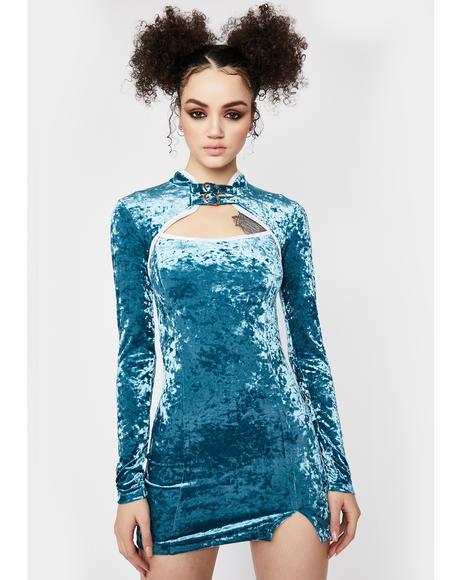 Wavy Dimensional Drip Velvet Dress