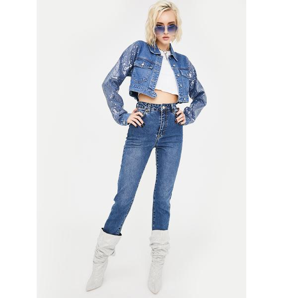 Honey Punch Sequin Sleeve Crop Denim Jacket