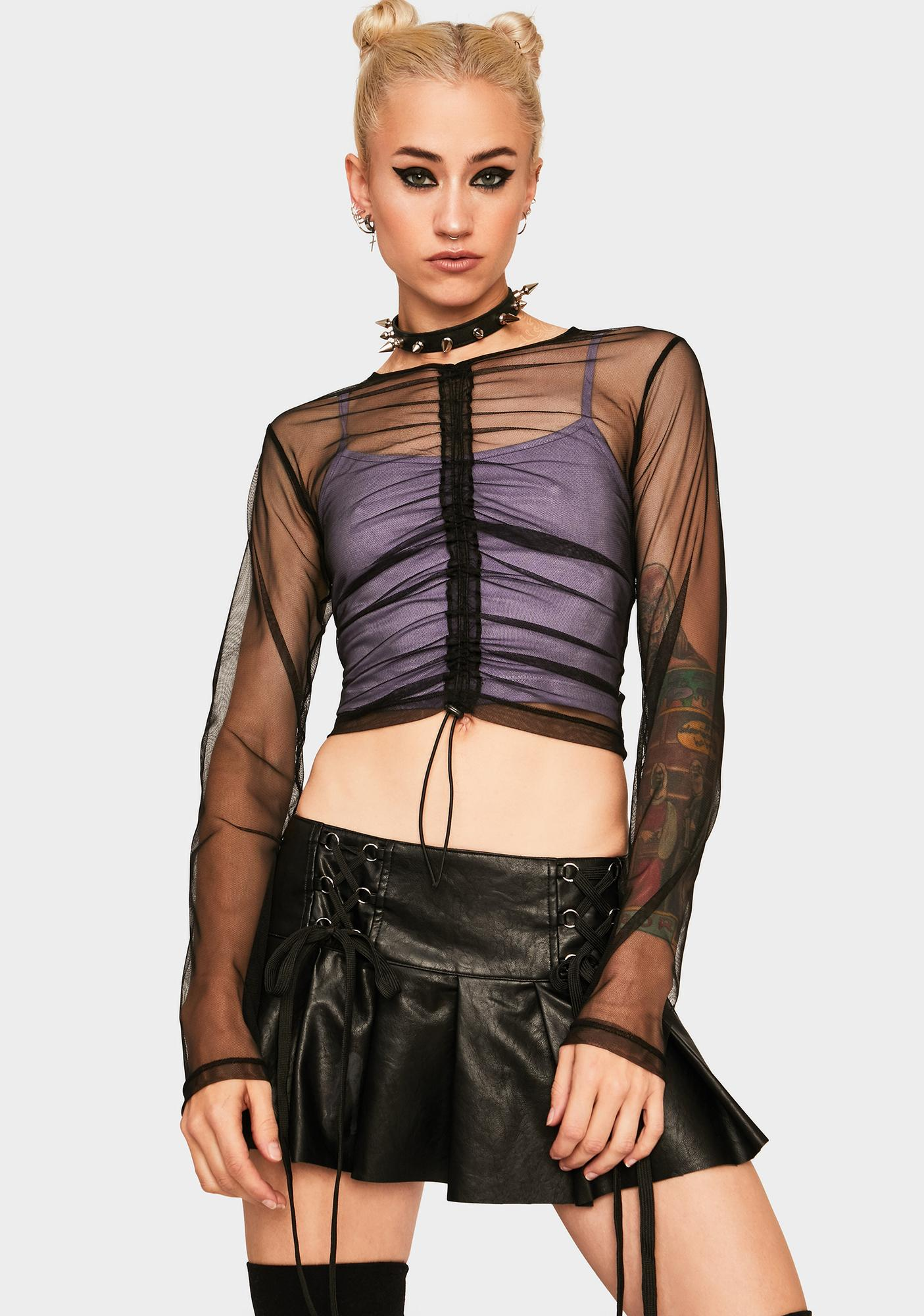 The Ragged Priest Ruched Front Mesh Top