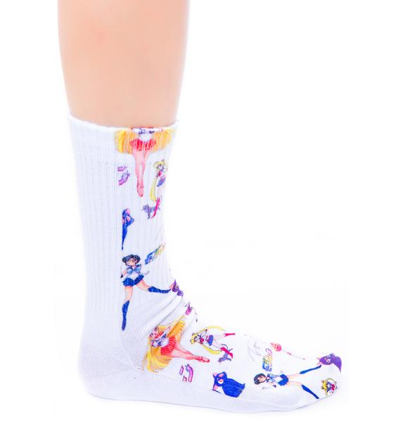 O Mighty Moon Prism Power Sailormoon Socks