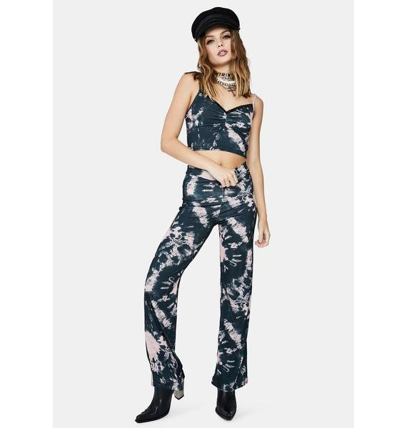 Daisy Street Black And Pink Tie Dye Trousers