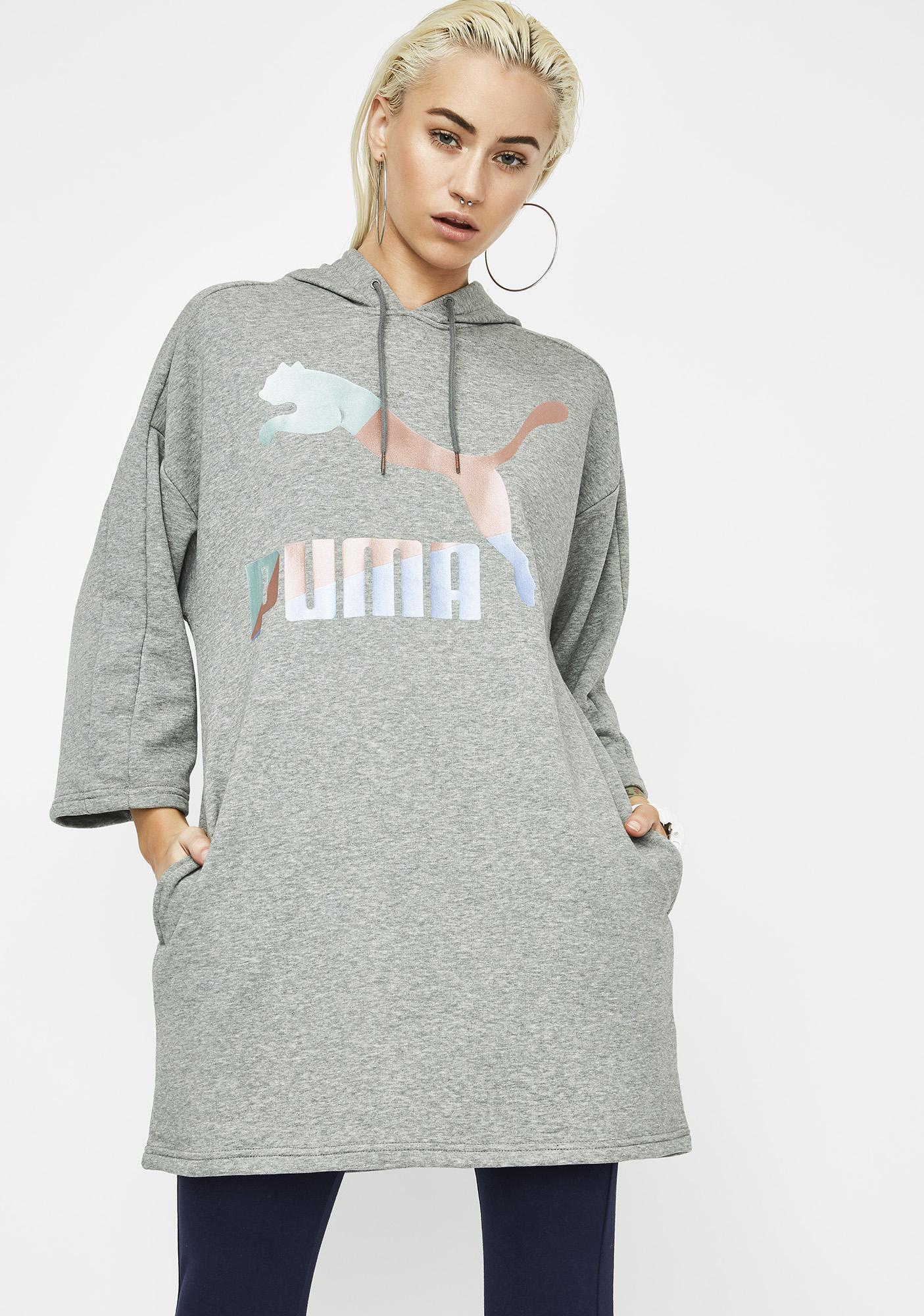 PUMA Heather Glam Oversized Hooded Dress