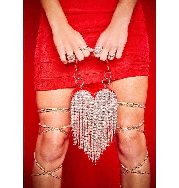Poster Grl Love Mine All Mine Rhinestone Heart Mini Purse