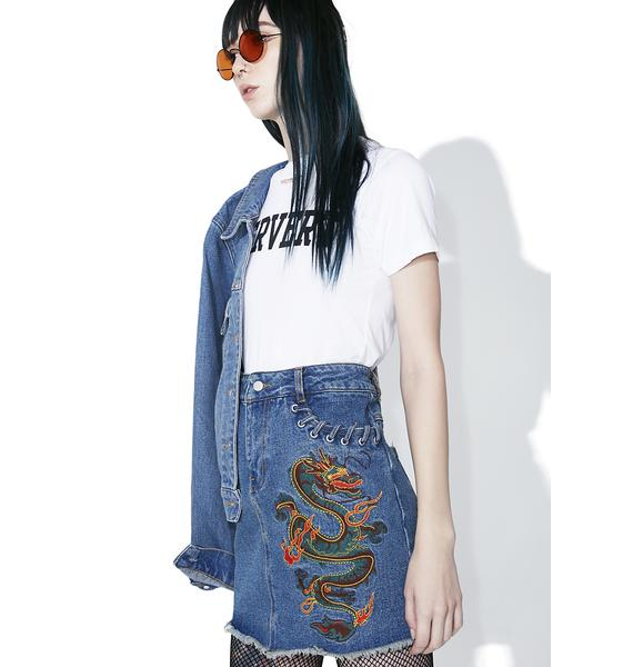 Spittin' Fire Denim Skirt
