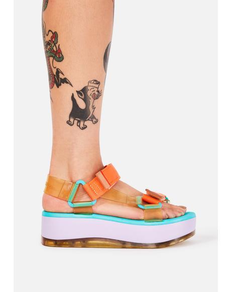 Purple Papete Platform Sandals
