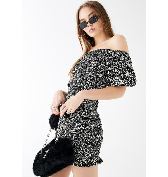 Glamorous Off The Shoulder Mini Leopard Dress