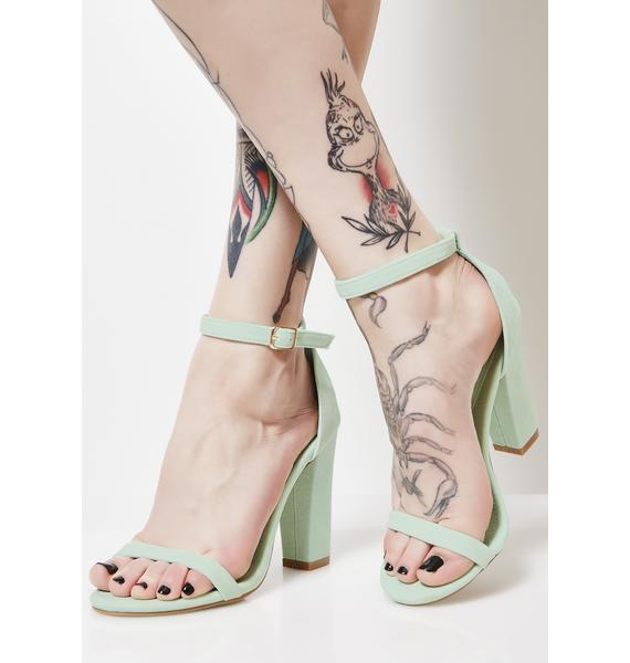 Mint On The Catwalk Strap Heels