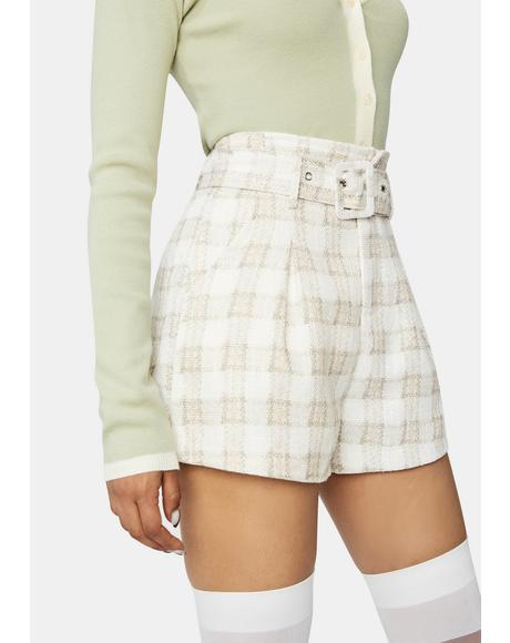 Fabulous Sass Plaid Paper Bag Shorts
