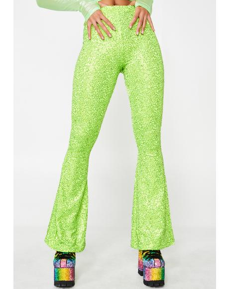 Sequin Lycra High Waist Flares