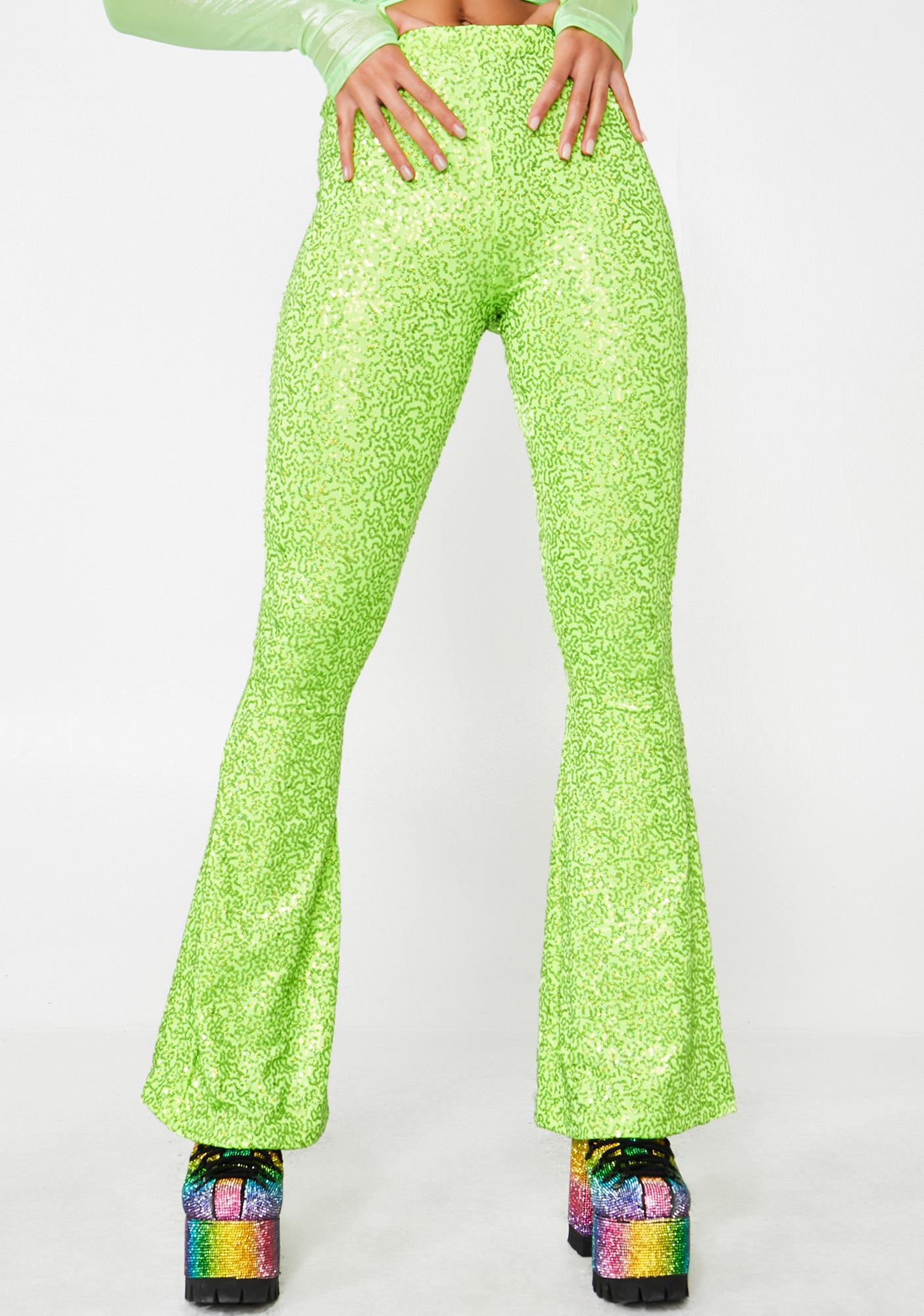 05c8b0385d5c78 Get Crooked Sequin Lycra High Waist Flares | Dolls Kill