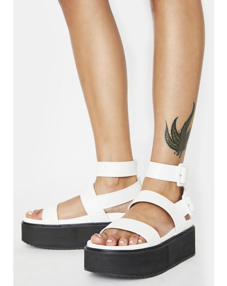 White Croc Kodie Platform Sandals