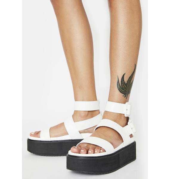 Public Desire White Croc Kodie Platform Sandals