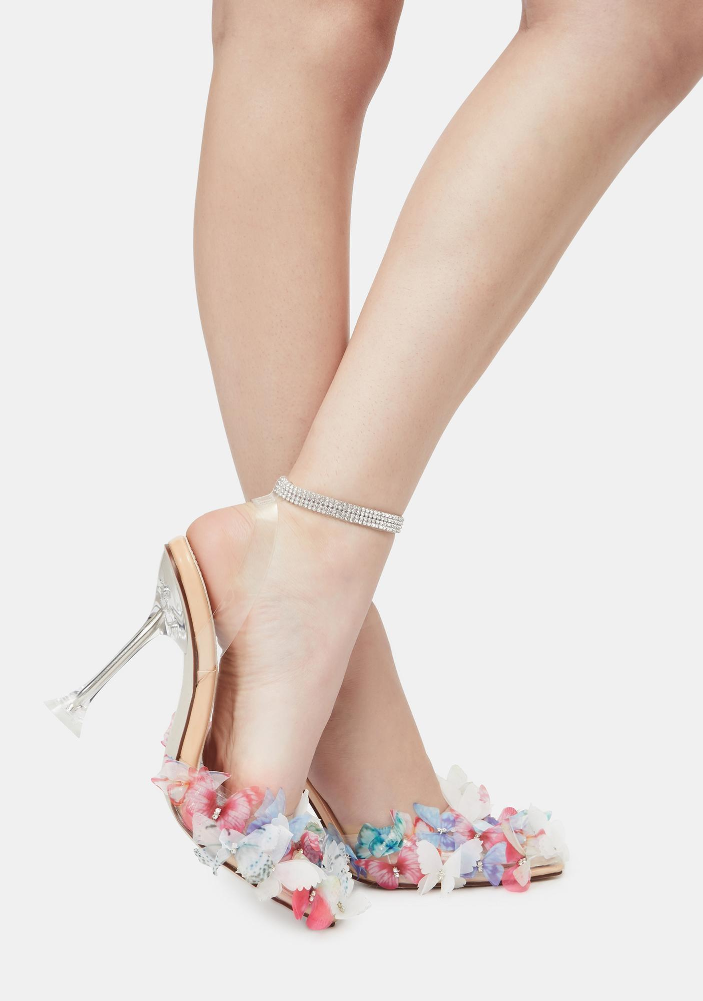 AZALEA WANG Multicolor Butterfly Stiletto Heels