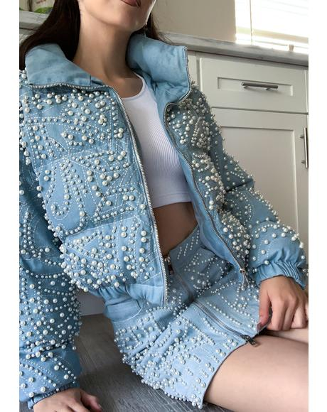 Alix Beaded Denim Puffer Jacket