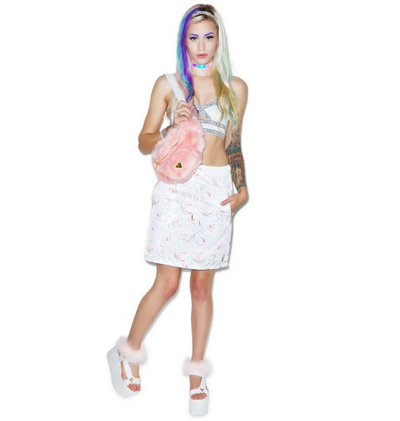 Joyrich White Rose Reverse Tube Skirt