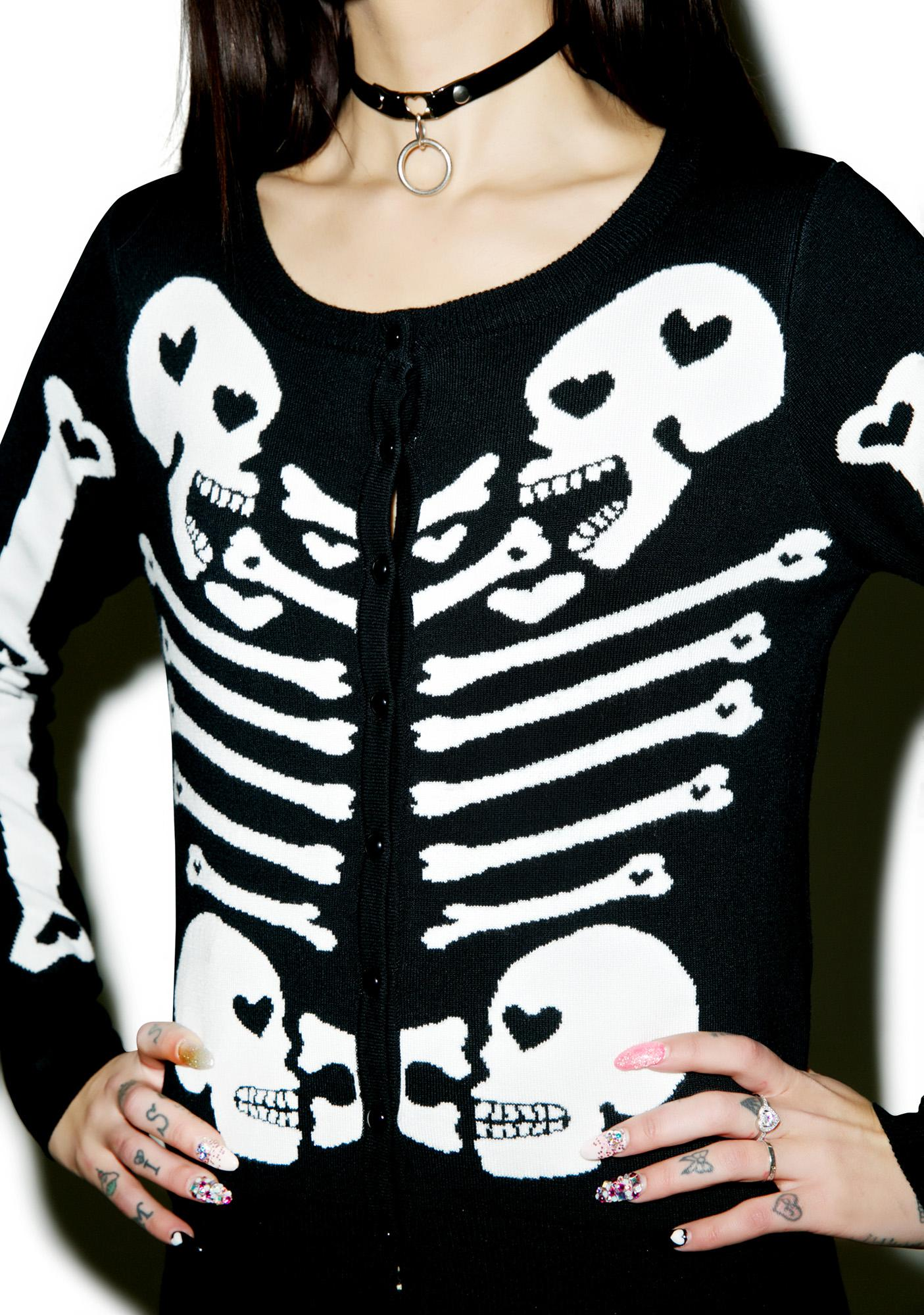 Too Fast Heart Bones Skeleton Cardigan