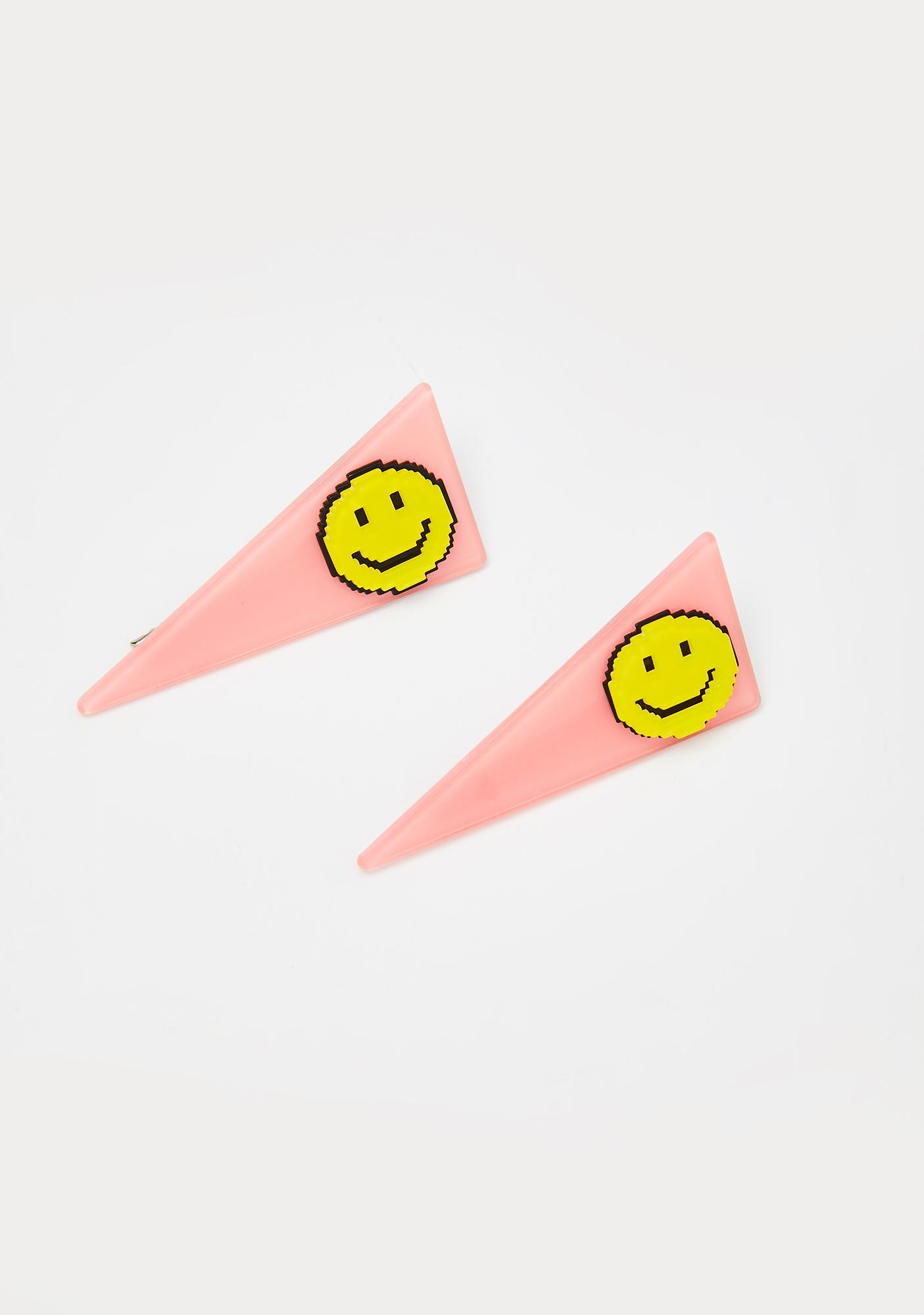 Happy Vibes Smiley Hair Clips by Dolls Kill