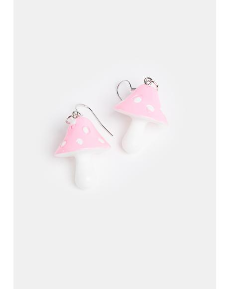 Down The Rabbit Hole Mushroom Earrings