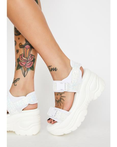 White Oracle Platform Sandals