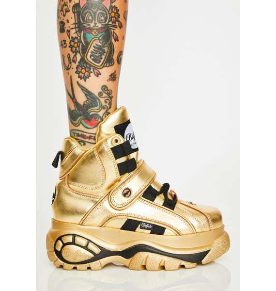 Buffalo London Gold Classic High Nappa Leather Sneakers