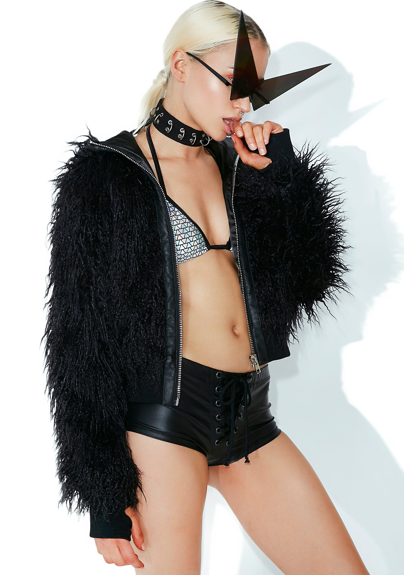 Club Exx Dark Wad Faux Fur Jacket