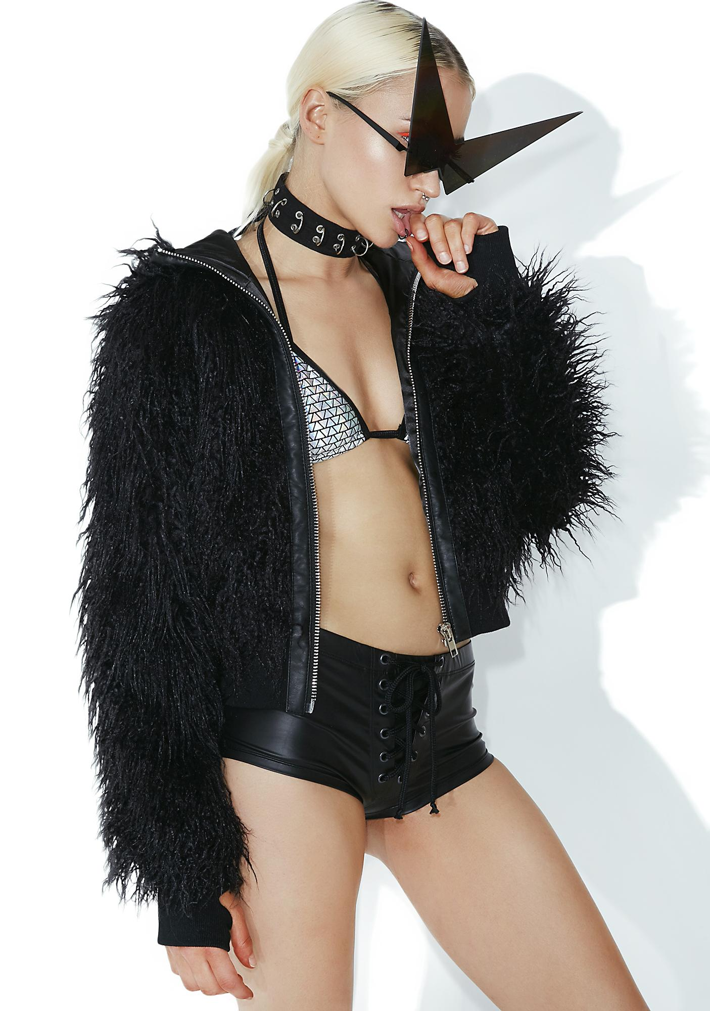 Club Exx Dark Wad Faux Fur Jacket