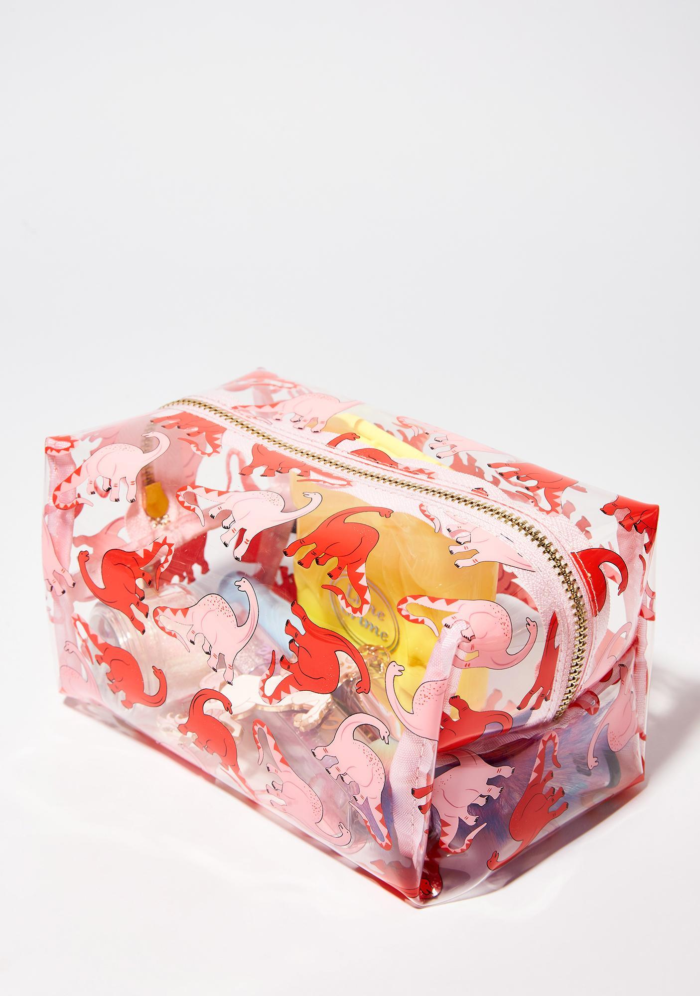 Skinnydip Pink Dino Makeup Bag