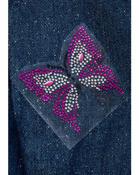 Flutter By Iron On Rhinestone Butterfly