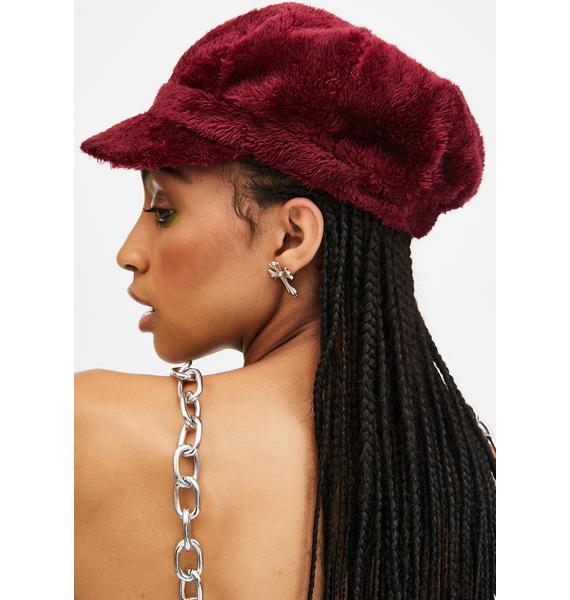 Wine Plush Love Faux Fur Hat