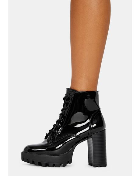 Patent Bad Is Better Lace Up Booties